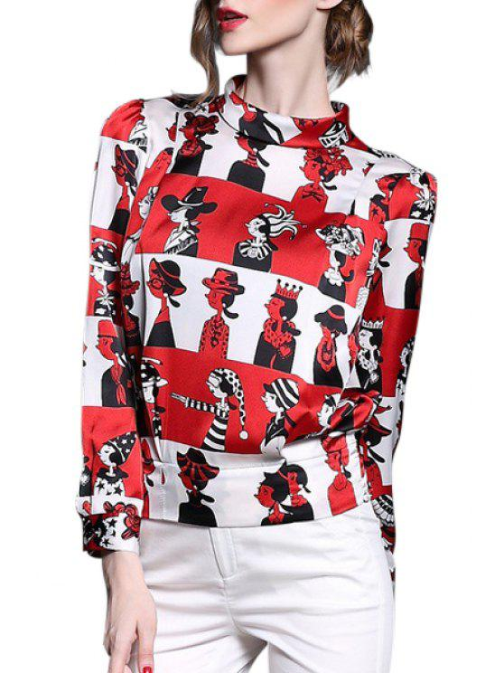 online Cartoon Print Zippered Loose-Fitting Blouse - RED S
