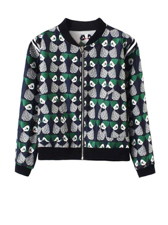 sale Stand Collar Cartoon Pattern Jacquard Jacket - BLUE S