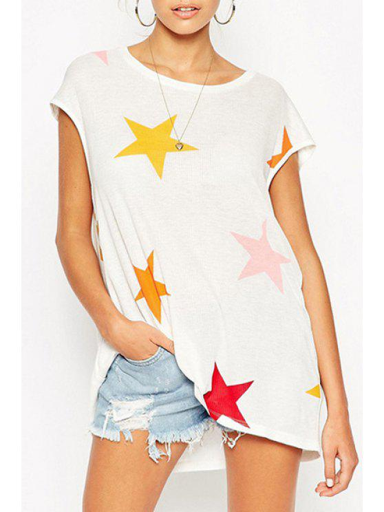best Colorful Star Print Short Sleeve T-Shirt - WHITE S