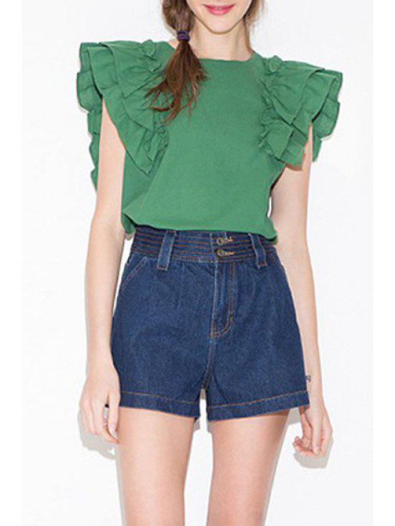 outfits Solid Color Flounce Cap Sleeve T-Shirt - EMERALD S