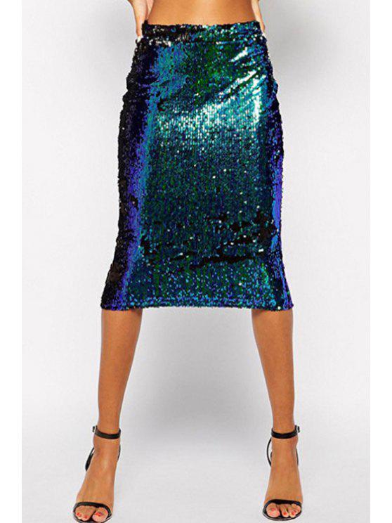 best Green Sequins Midi Skirt - GREEN S
