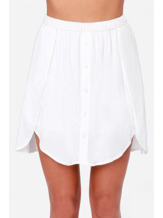 fashion Solid Color Asymmetrical Skirt - WHITE 2XL