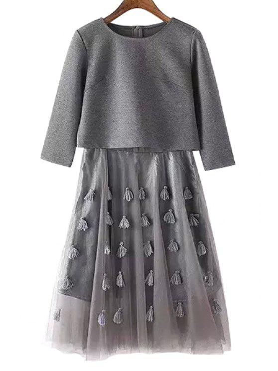 fancy Voile Spliced Dress + Long Sleeve Crop Top Twinset - GRAY S