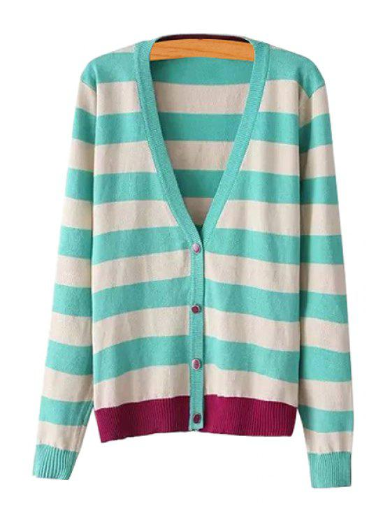 fashion Stripes Color Block Single-Breasted Cardigan - GREEN M