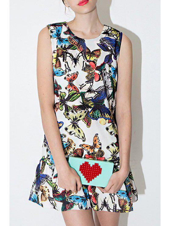 chic Jewel Neck Full Butterfly Print Sleeveless Dress - COLORMIX M