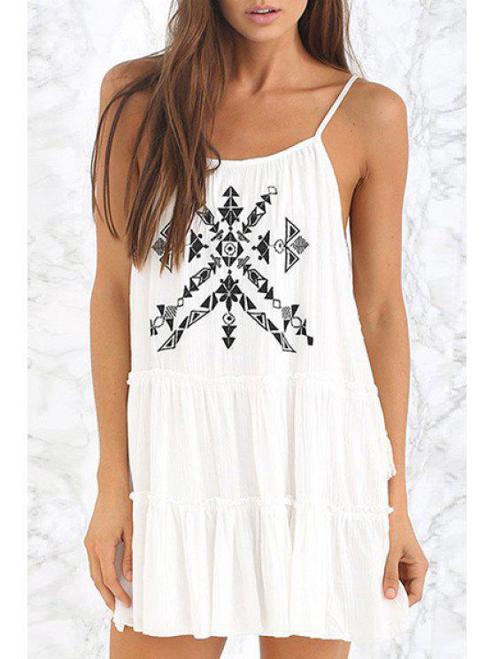 ladies Geometric Embroidery Spaghetti Strap Dress - WHITE S