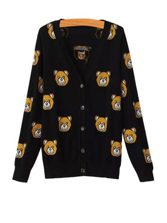 unique Little Bear Pattern Single-Breasted Cardigan - BLACK M