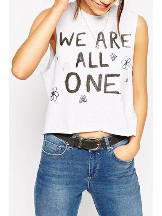 hot Letters Print Round Collar Tank Top - WHITE S