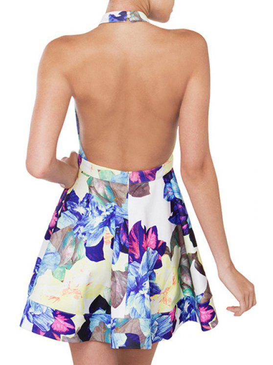 shops Floral Print Halter Backless Flare Dress - COLORMIX S