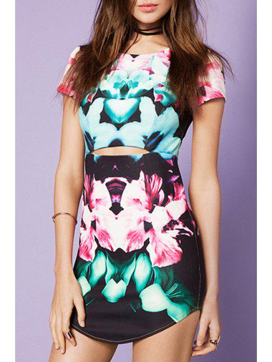 fancy Floral Hollow Short Sleeve Dress - COLORMIX 2XL