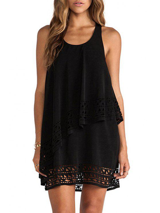 unique Solid Color Openwork Multi-Layered Sleeveless Dress - BLACK S
