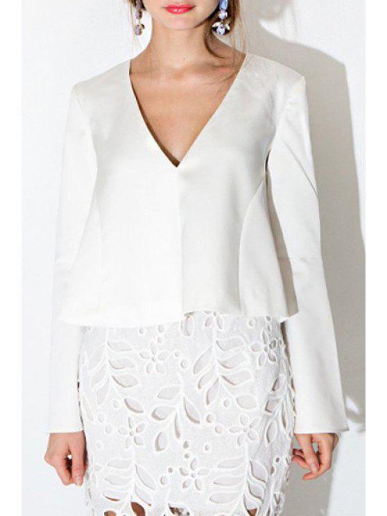fashion White Plunging Neck Long Sleeve T-Shirt - WHITE S