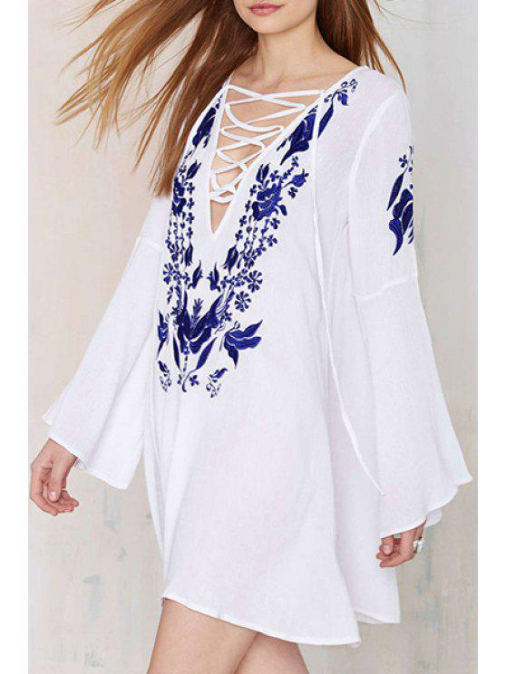 trendy Plunging Neck Floral Embroidery Dress - WHITE L