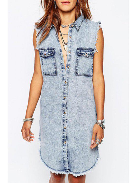 women's Denim Turn-Down Collar Sleeveless Dress - BLUE XL