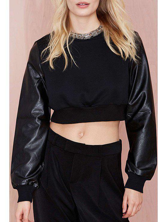 ladies Long Sleeve PU Leather Spliced Black Crop Top - BLACK S