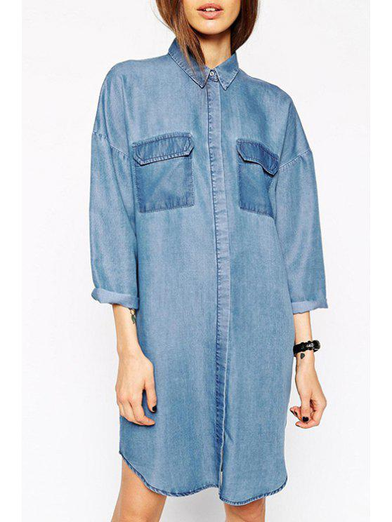 hot Blue Denim Turn-Down Collar Long Sleeve Dress - BLUE 2XL