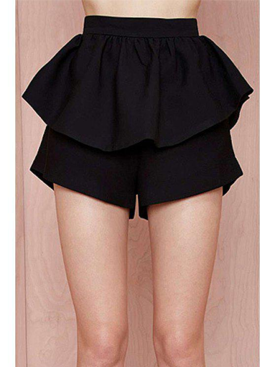shop High-Waisted Ruffles Loose-Fitting Black Shorts - BLACK XL