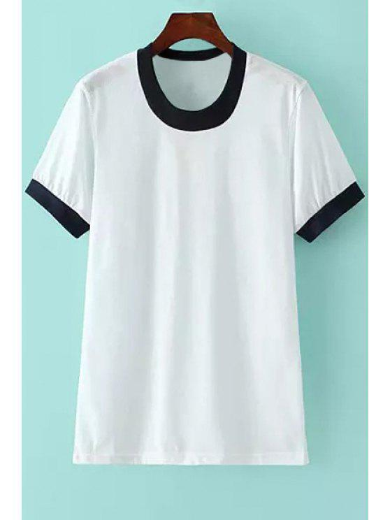 affordable Color Block Edging Short Sleeve T-Shirt - BLACK XS