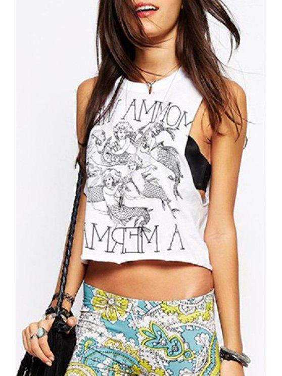 ladies Mermaid Print Round Neck Tank Top - WHITE S