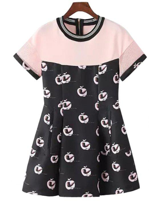 women's Apple Pipe Print Short Sleeve Dress - PINK S