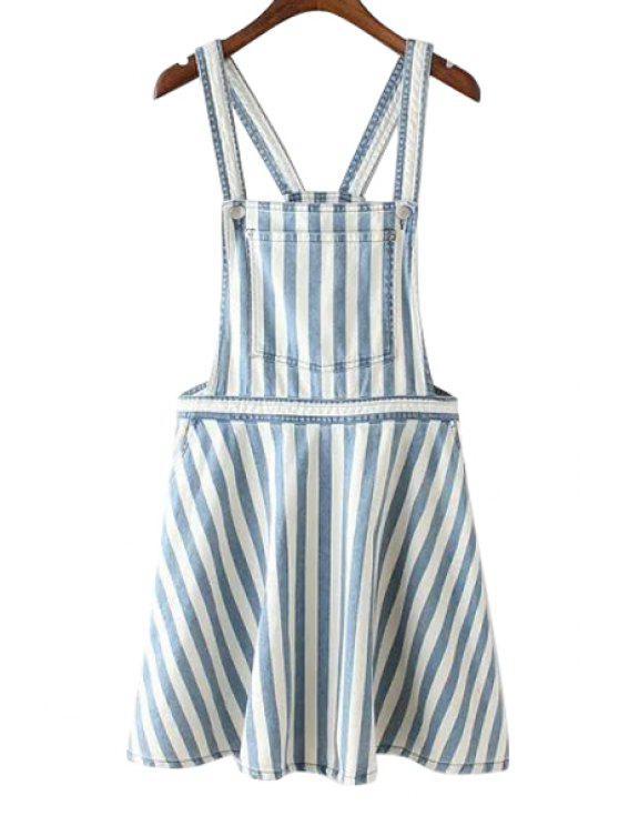 fancy Straps Blue White Stripe Denim Skirt - LIGHT BLUE S