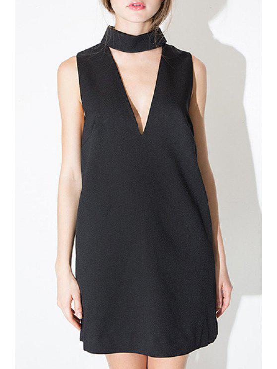 unique Solid Color Cut Out Sleeveless Dress - BLACK S