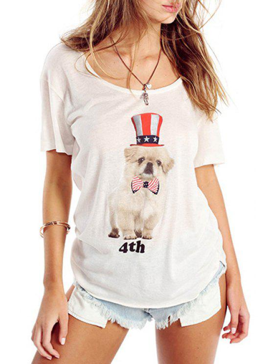 unique Puppy Pattern Short Sleeves T-Shirt - WHITE S