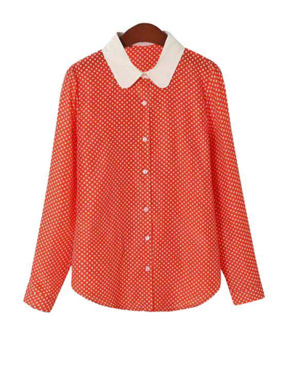 unique Turn-Down Collar White Polka Dot Shirt - JACINTH S