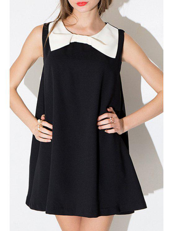 chic Black and White Sleeveless A Line Dress - BLACK L