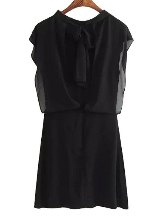 hot Round Neck Back Tie Knot Solid Color Dress - BLACK S