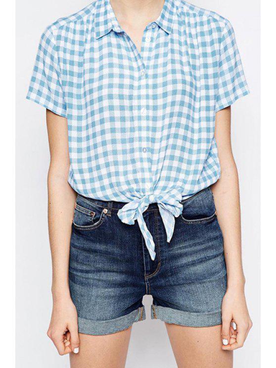 fashion Blue Checked Print Short Sleeve Shirt - CHECKED S
