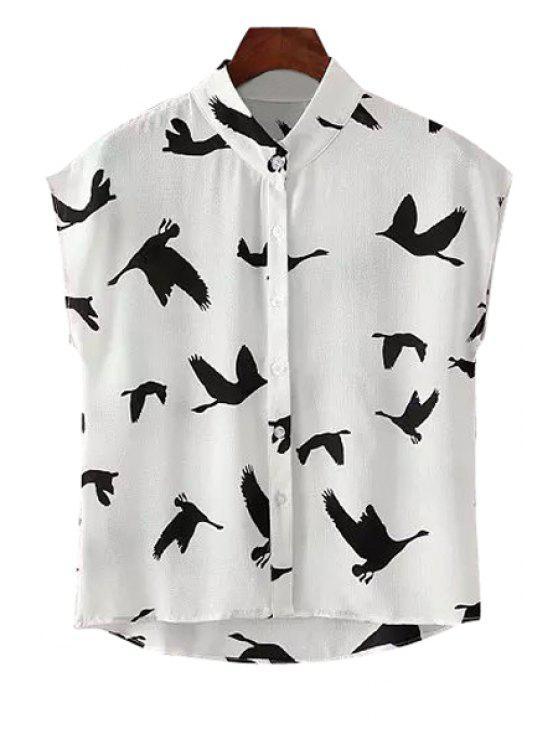 women's Stand-Up Collar Black Bird Print Shirt - WHITE AND BLACK L