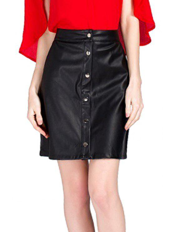 women Single-Breasted PU Leather Skirt - BLACK S