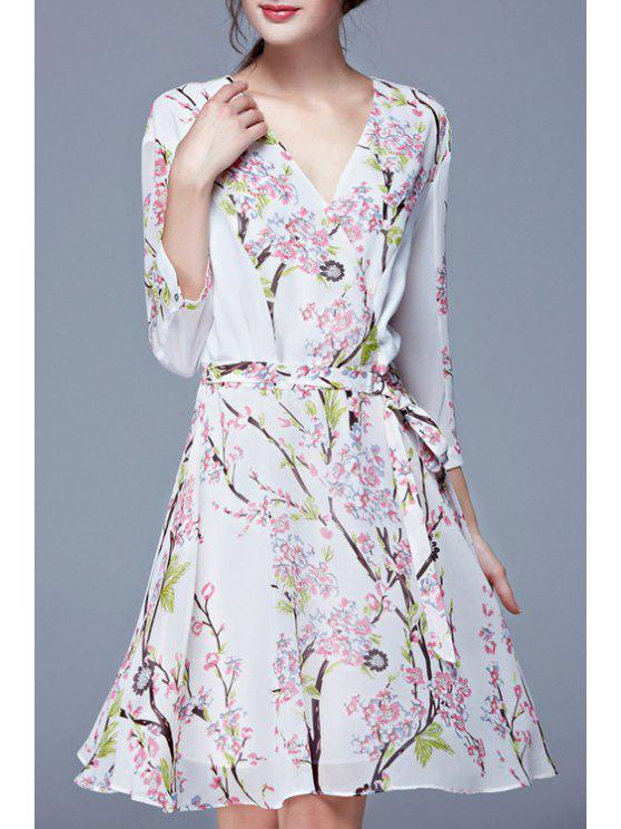 hot Tiny Floral Print Elastic Waist Long Sleeve Dress - WHITE S