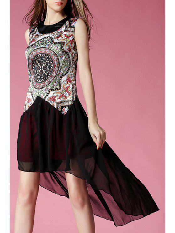 trendy Floral Print Chiffon Splicing Sleeveless Dress - COLORMIX S