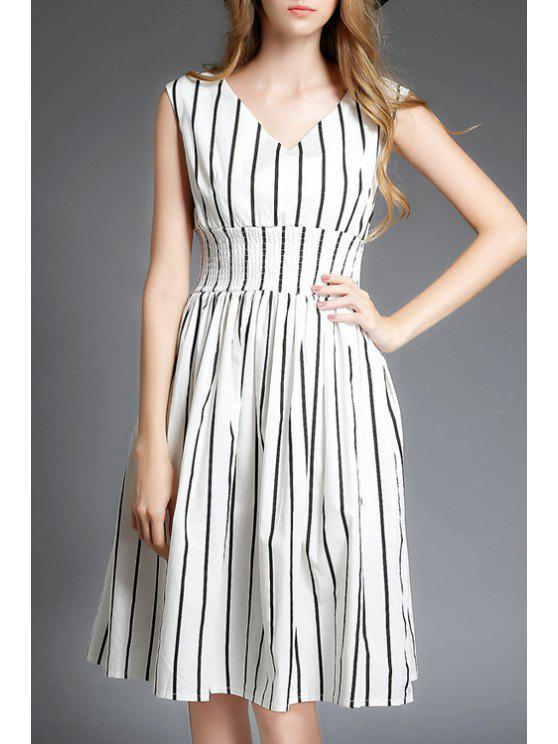 trendy Stripe Elastic Waist Sleeveless Dress - STRIPE S