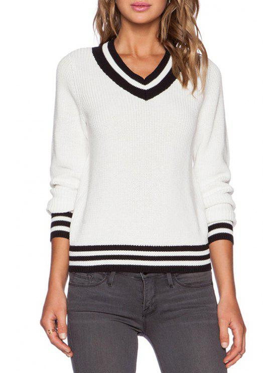 new V-Neck Black Stripe Long Sleeve Sweater - WHITE ONE SIZE(FIT SIZE XS TO M)