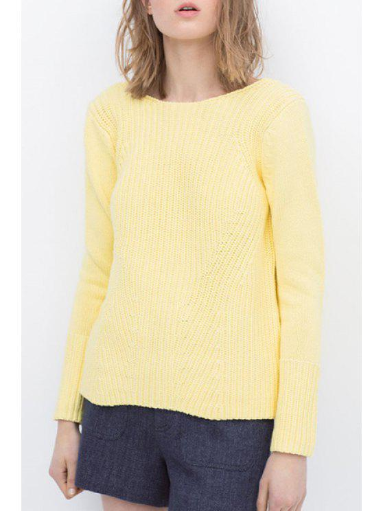 latest Backless Solid Color Long Sleeve Sweater - YELLOW ONE SIZE(FIT SIZE XS TO M)