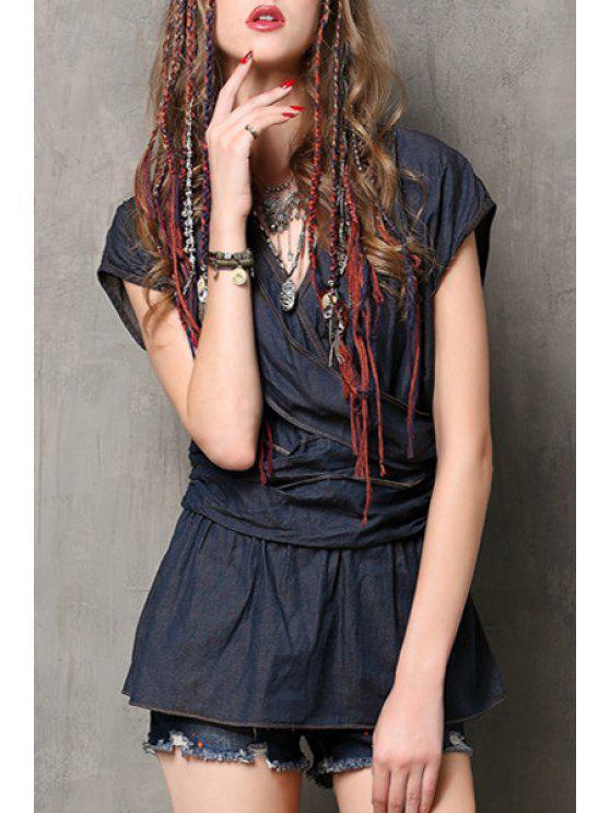 outfits Solid Color V Neck Denim Blouse - PURPLISH BLUE M