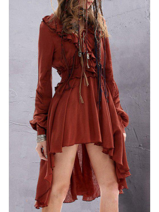 sale Solid Color Ruffled Long Sleeve Dress - DARK RED L