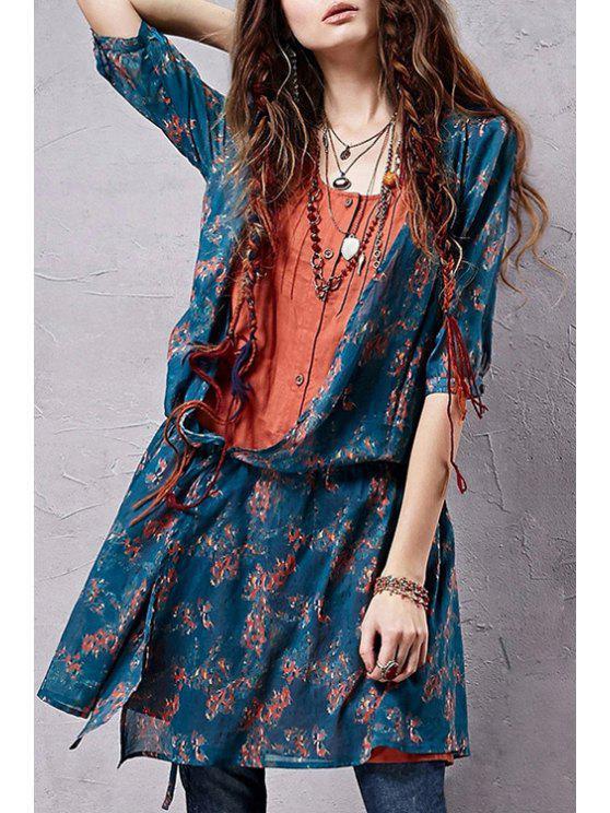 trendy Tiny Floral Spliced Half Sleeve Shirt - COLORMIX S