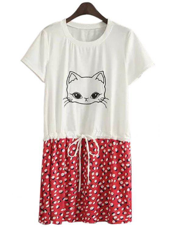 new Kitten Print Polka Dot Dress - RED S