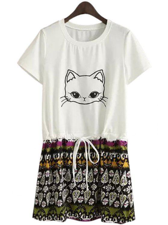 shop Kitten Print Ethnic Pattern Dress - WHITE S