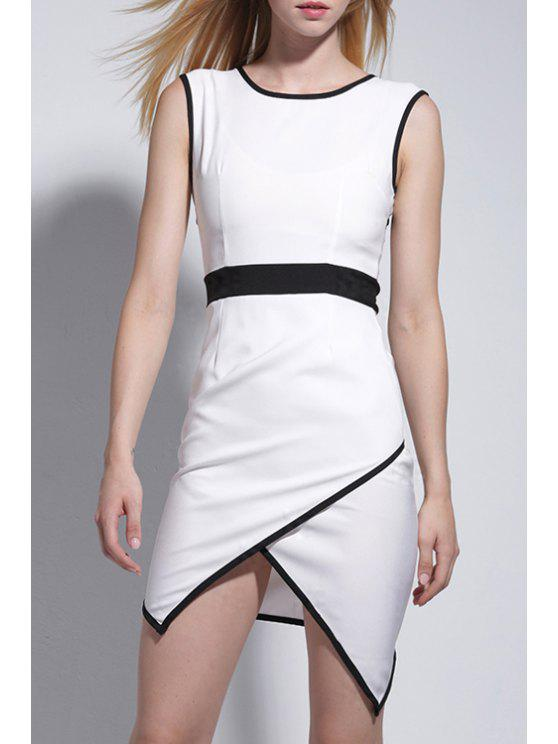 fancy Black Edging Splicing Sleeveless Dress - WHITE AND BLACK S