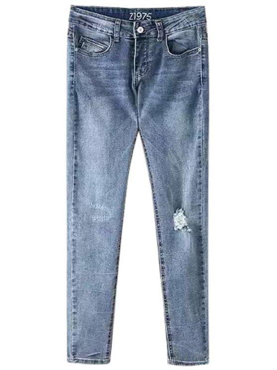 unique Mid-Waisted Broken Hole Pocket Design Pencil Jeans - LIGHT BLUE S