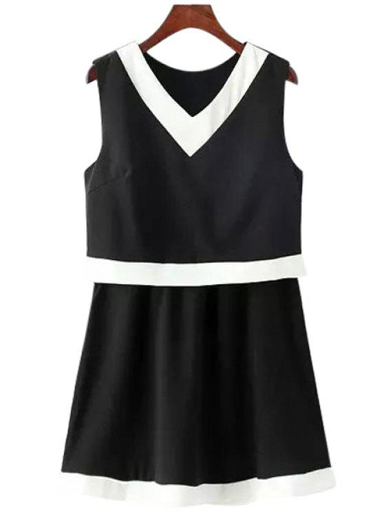 online Color Block A-Line Layered Mini Dress - BLACK ONE SIZE(FIT SIZE XS TO M)