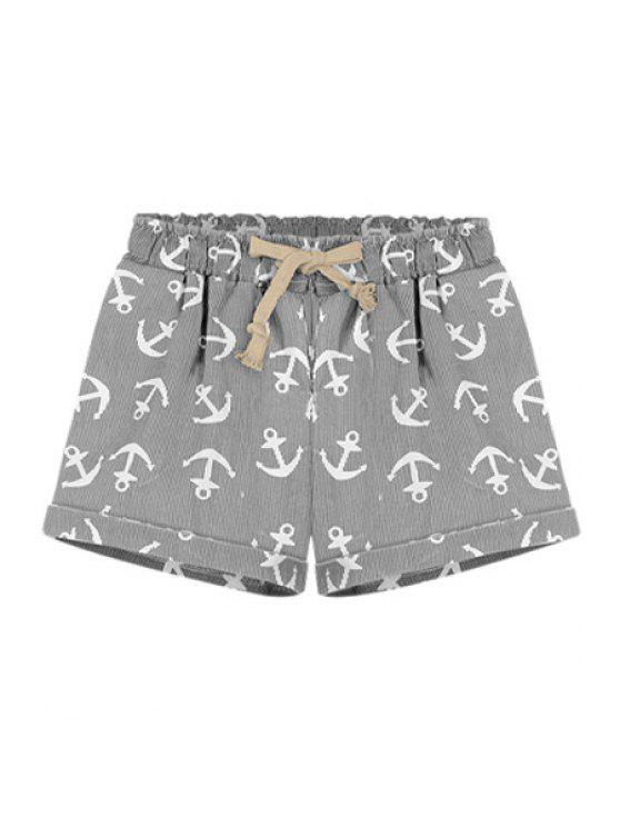 hot Boat Anchor Print Elasitic Waist Shorts - GRAY L