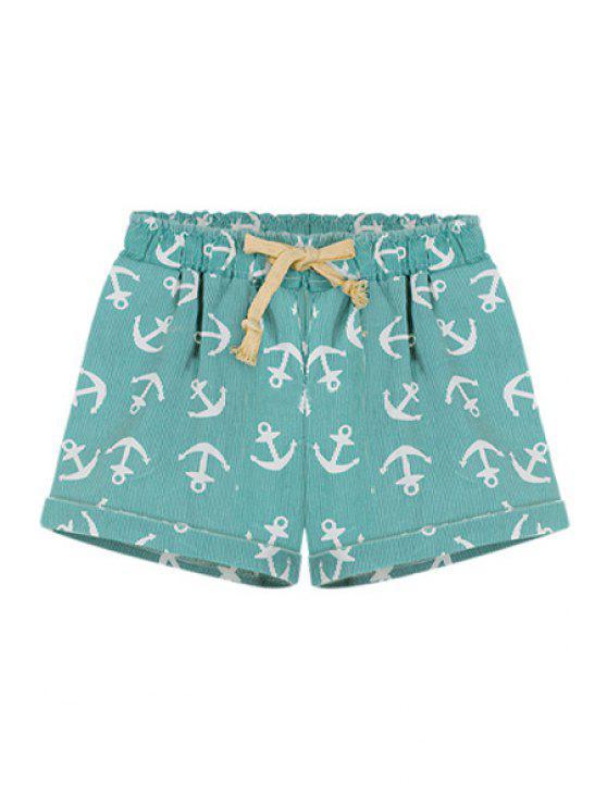 buy Boat Anchor Print Elasitic Waist Shorts - GREEN 2XL
