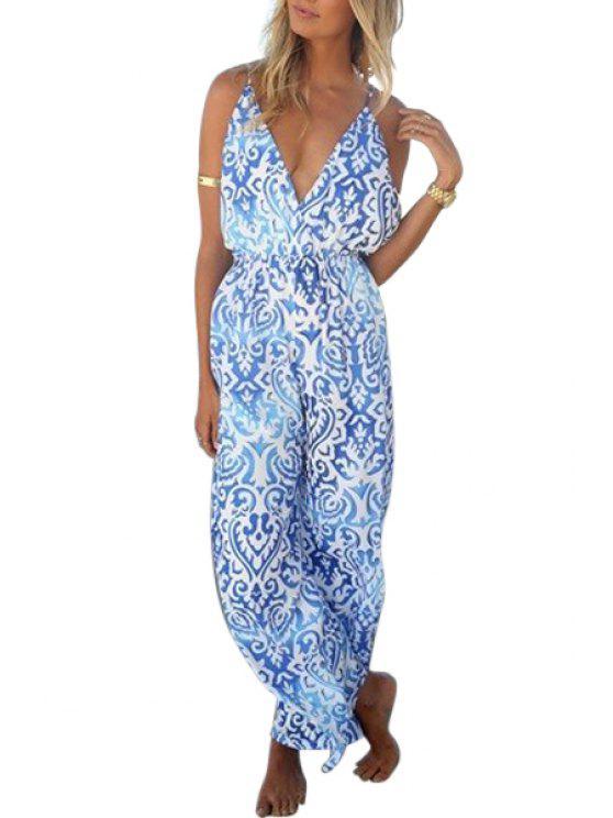 shops Spaghetti Strap Vintage Print Jumpsuit - BLUE S
