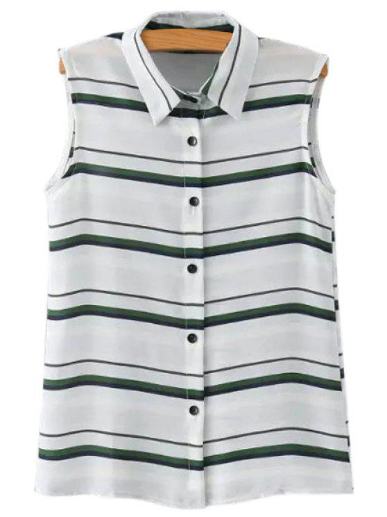 shops Striped Single-Breasted Chiffon Blouse - GREEN S